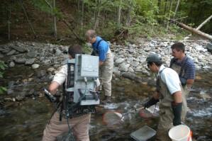 pêcheur, équipement, électrique, chocs, le dos, les prises, les poissons