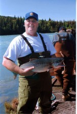 fisherman, fly, rod, caught, red, sockeye, salmon, fish