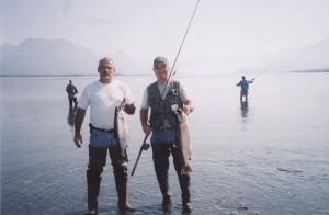 pêcheur, poisson, argent, saumon