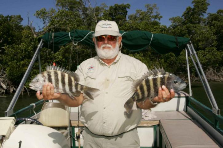ryby, ruky, rybár, ukazuje, chytiť