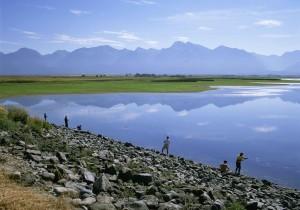 Balık tutma, göl, büyük, manzara