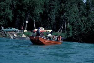 pêche, rivière, petit, bateau