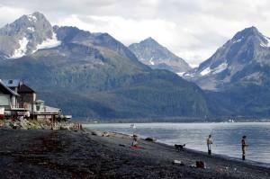 fishing, river, mountains