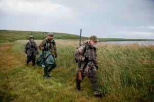 Nhóm, vịt, thợ săn, lake
