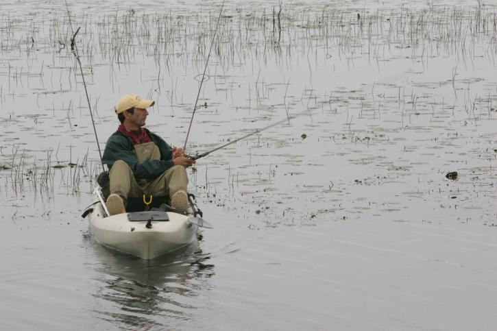 muž, biela, kanoe, casting, Rybolov, linka, voda