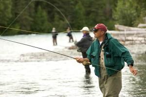hommes, mouche, pêche
