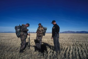 service, law, enforcement, officer, speaks, two, duck, hunters, dog