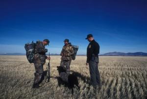 il servizio, il diritto, l'applicazione, ufficiale, parla, due, anatra, cacciatore, cane