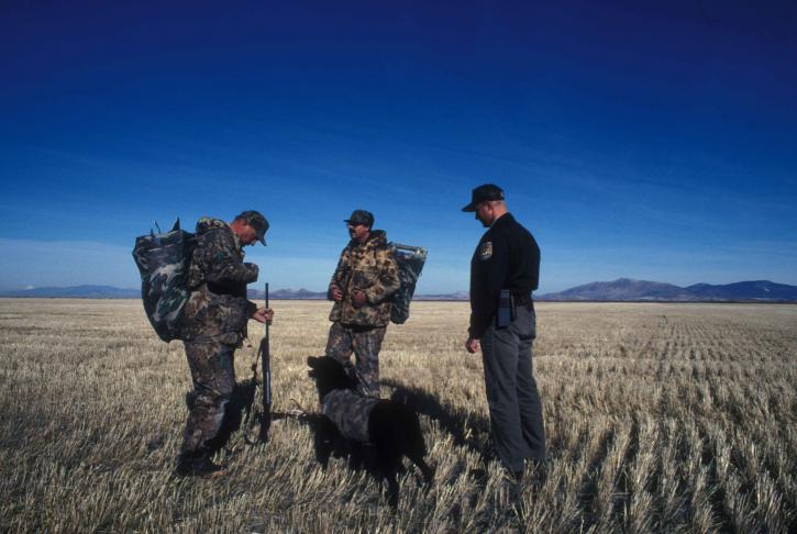 service, law, enforcement, officer, speaks, two, duck, hunters, dog