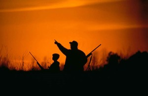 silhouette, father, son, hunting, sunset