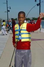 sweet, boy, fisherman, holding, fish