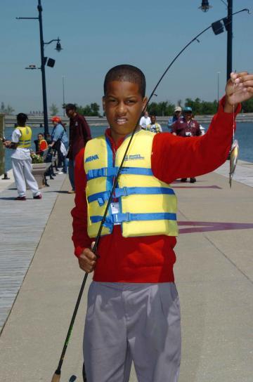 slatki, mali, ribar, držanje, ribe