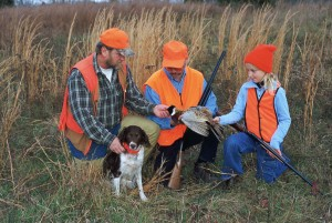 two, men, young girl, dog, hunt, pheasant, together