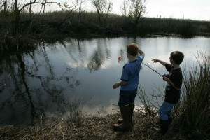 two, young boys, enjoy, day, fishing