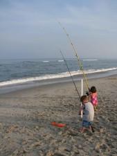 young boy, girl, enjoy, day, fishing, beach