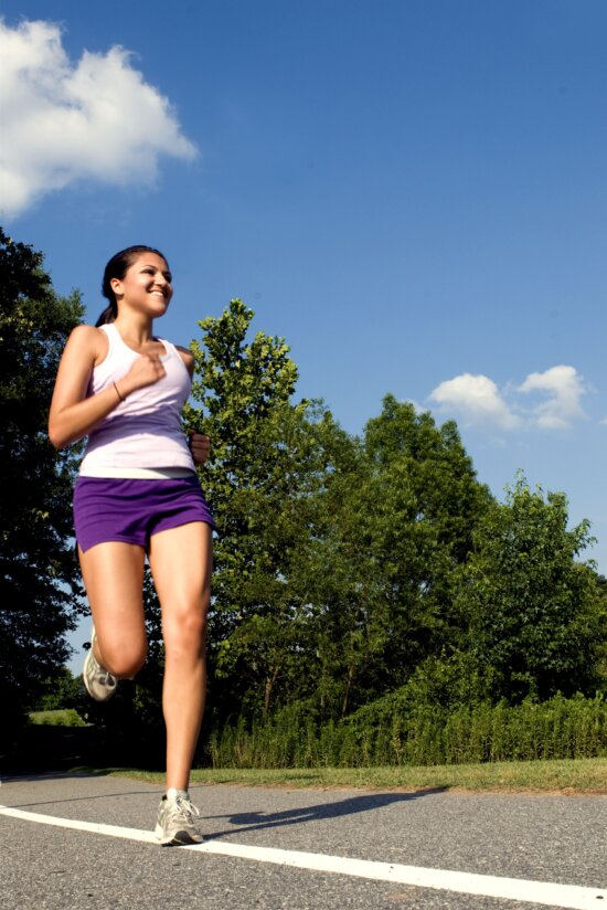 dễ thương, cô gái, chạy bộ
