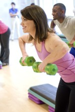 ženské, roztomilé, mladá žena, aerobic, cvičenie