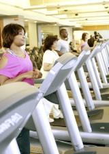 fitness, attendees, making, treadmills