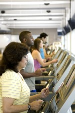 fitness, attendees, making, treadmills, taking, part, aerobic, exercise