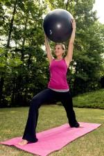girl, holding, balance, ball