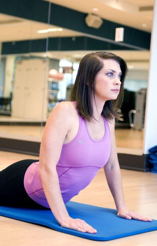 girl, participating, yoga, class, assumed, cobra, pose