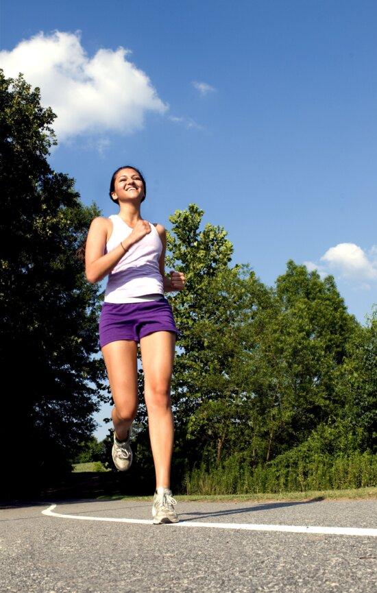 happy, girl, running