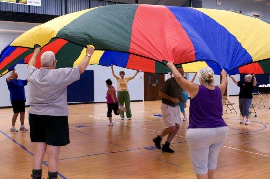 older individuals, basketball, court