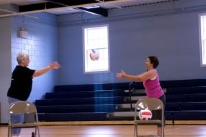 oudere vrouwen, houten, vloer, indoor, basketbal, Hof