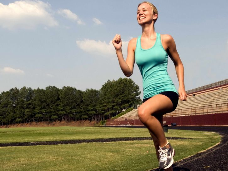 smile, young woman, jogging, sport, technique