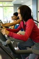 trois, les femmes, ce qui rend, facilitys, tapis roulants, prendre, partie, aérobie, exercice