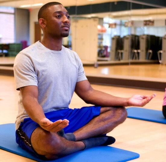 yoga, class, cross, legged, palms, meditation, position