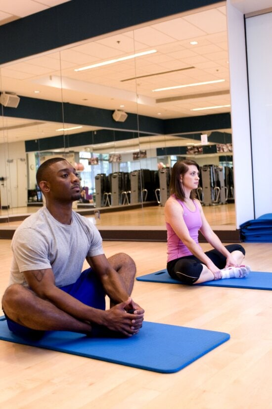 young male, female, fitness, class