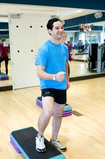 young, man, pilates, aerobic
