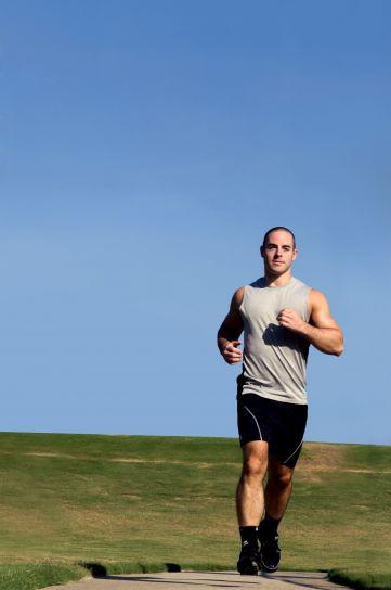 young, man, jogging