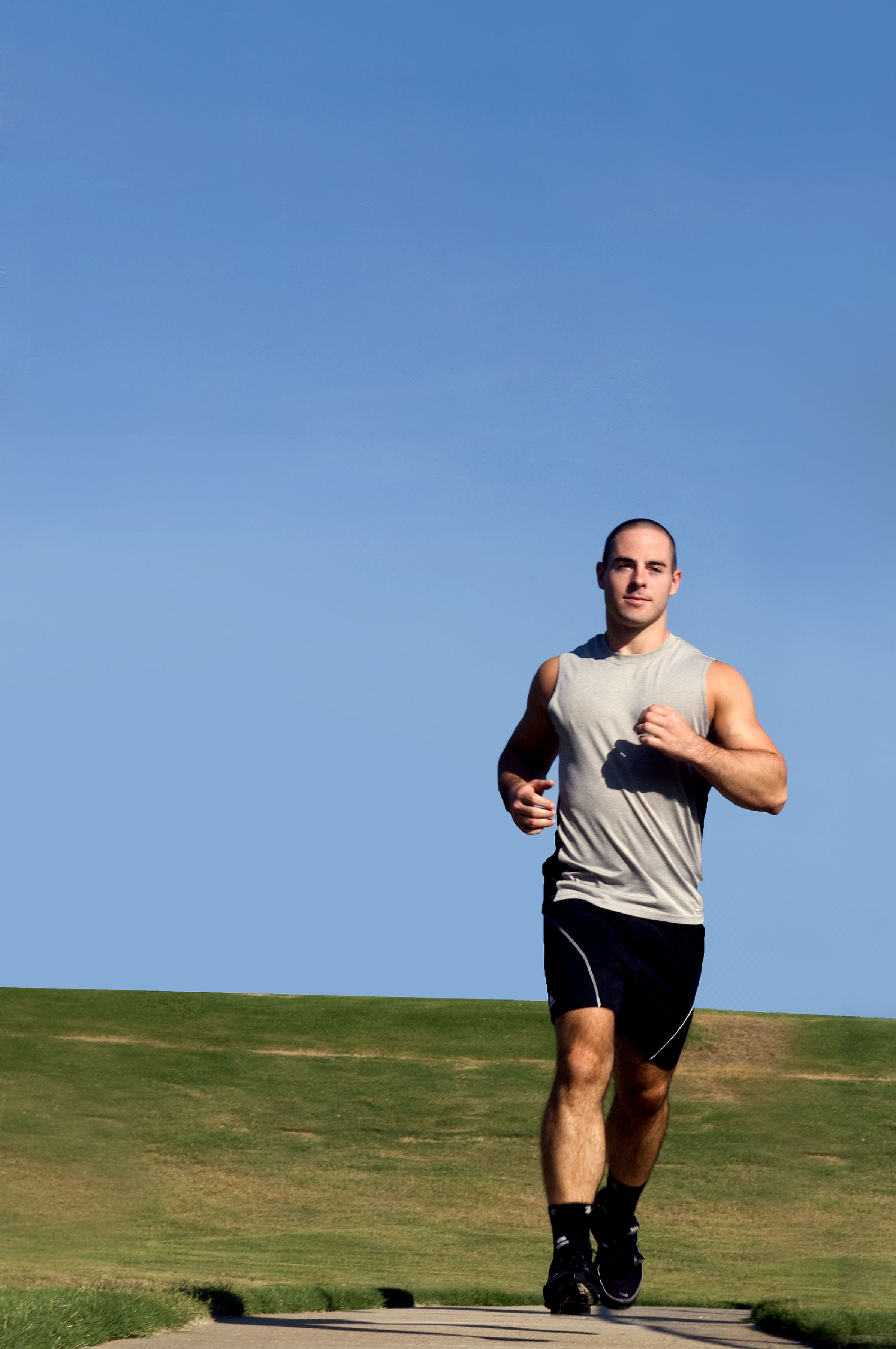 Free photograph; young, man, jogging