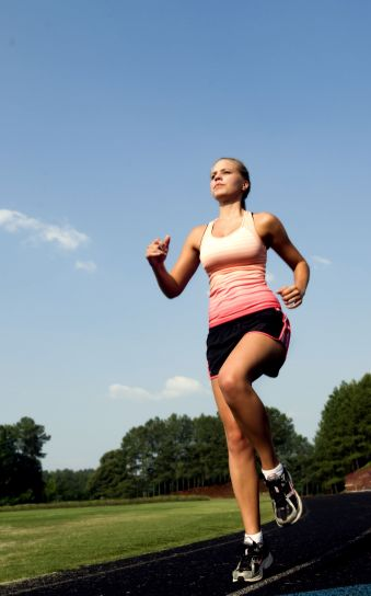 young, woman, jogging, running, track