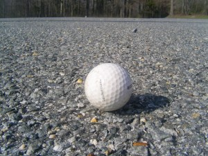 golf, ball, resting, gravel