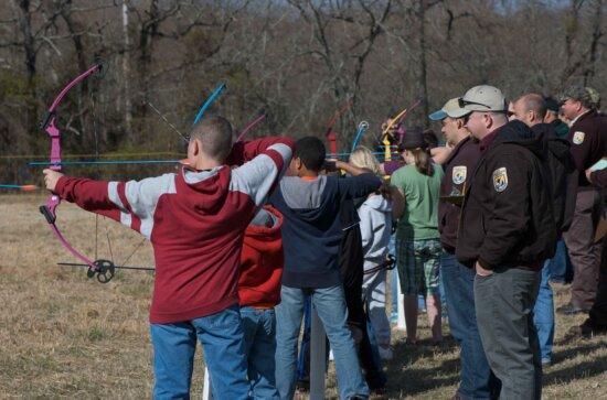 group, teens, practice, archery, skills
