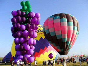 ballons, chaud, air, groupe