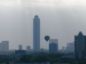 hot, air, balloon, city