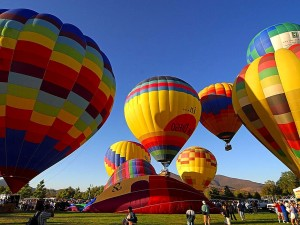 hot, air, balloons, ground