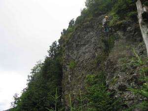 grimpeur, escalade, équipement, pendre, haut, rochers