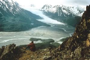 turista, odpočíva, cliff, ponúka výhľad, ľadovec, ľad