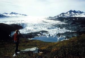 산악인, 쌍안경, 찾고, 상단, 겨울, 빙하