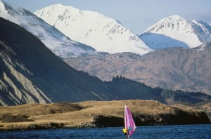sport, windsurfing, lake, mountains