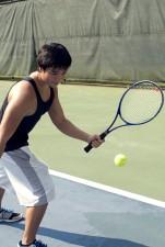 jongen met sport, spel, tennis, racket