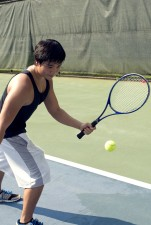muchacho, deporte, juego, tenis, raqueta