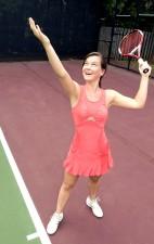 女性、テニス コート
