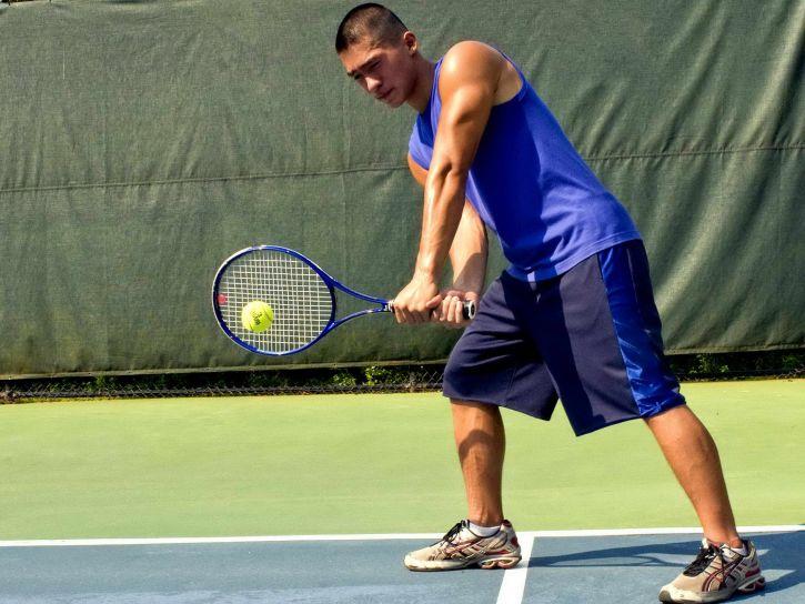 jeune homme, jeu, sport, jeu, tennis, stade