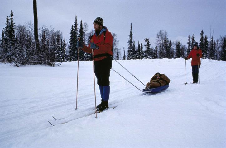 skier, skis, sled, drags